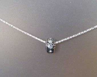 Something Sparkling, Something sterling silver...necklace, everyday, diamond cut, crystal rondelle