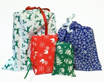 Set of 4 Reusable Holiday Gift Bags, Sustainable