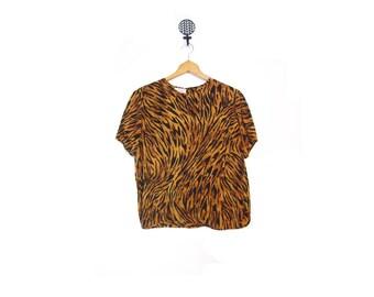 Vintage 90s Silk Black Striped Tiger Print Boxy Blouse women m l vestiesteam hipster indie hip hop retro loose slouchy animal print boho