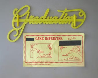 1970s Cake Topper, Foodie Gift for Men, Baking Gift, Graduation Cake Imprinter, Kitchen Gift for Mom, Cake Decoration Tool, Grad Gift
