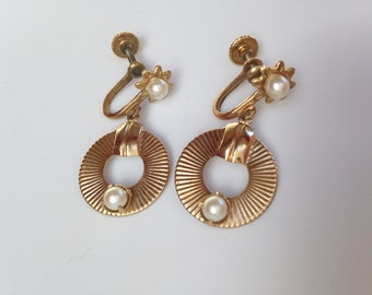 Art Deco Dangle Gold Plated Pearl Earrings