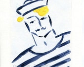 Holiday sale Sailor Boy art Print, sailor print, nautical art, Marine, retro, Navy and Yellow, stripes, men, fathers day, Beach cabin decor