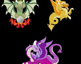 DRAGONS REIGN (5inch) - 10 Machine Embroidery Designs Instant Download 5X7 hoop (AzEB)