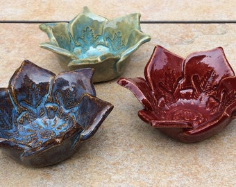 1 of 3 Small Flower Bowls for Candles Snacks Blue Green or Red  Half Price Sale