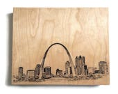Wood Wall Art Panel St. Louis Skyline Art Print Wall Art Print on Wood St. Louis Skyline Art On Wood Panel for Home Decor Office Decor
