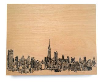 Wood Wall Art Panel New York Skyline Cityscape Art on Wood Customize Your Colors And Size Wall Decor  New York Skyline Art On Wood Panel