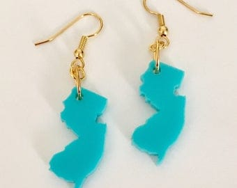 State Jewelry - New Jersey Earrings - Turquoise Blue Acrylic on Gold Plated Hooks