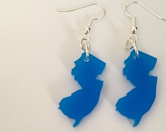 State Jewelry, New Jersey Earrings in Medium Blue Lasercut Acrylic