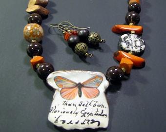 Brown and Orange Ceramic Necklace/Earring Set--OOAK