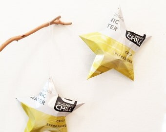 Super Chill Tonic Water Soda Stars Christmas Ornaments Aluminum Can Upcycled