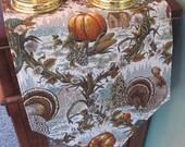 """Thanksgiving Turkey Table Runner 72"""" Reversible Turkey and Pumpkin Fall Table Runner Thanksgiving Table Runner Thanksgiving Table Decor"""