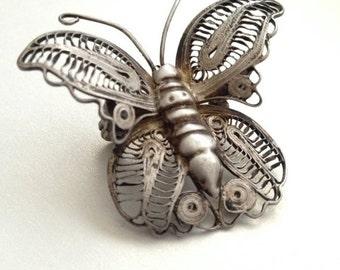 SALE Silver Filigree Butterfly Brooch