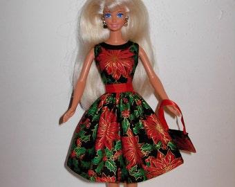 Handmade barbie clothes CUTE Christmas dress and bag 4 barbie doll