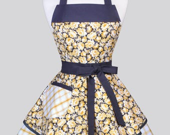 Ruffled Retro Womans Apron - Yellow and Gray Rose Floral Vintage Style Pin Up Kitchen Apron with Pockets to Personalize or Monogram