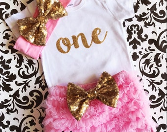 First Birthday Set-  Pink Ruffle shorts, Pink and Gold Headband, Birthday Onesie , Birthday Girl, 1st Birthday, Baby's First Birthday