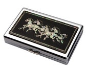 Mother of Pearl Running Horse 100S King Size 16 Cigarette Engraved Metal RFID Blocking Credit Business Card US Bill Cash Holder Case Wallet