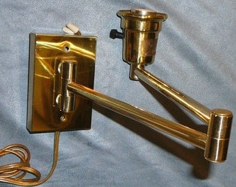 Mid-Century Brass Swing Arm Wall Lamp Adjustable Sconce Light MCM