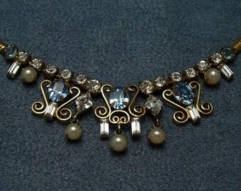 Leo Glass Aqua Rhinestone Necklace Vintage Designer Jewelry