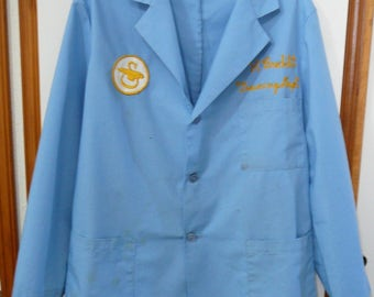 Vintage Sikorki Helicopter Employee Uniform with Patch Jacket Smock