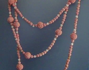 """Vintage Pink Rose Petal Paste Bead Necklace Long 60"""" Beads Made from Roses"""