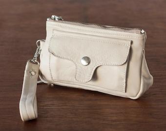 Leather phone wallet offwhite wristlet,phone wallet,clutch wallet zipper,phone case,phone wallet case- Thalia Wallet