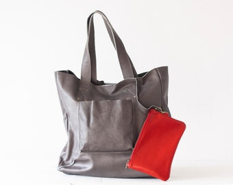 Shopper tote bag in grey leather, shoulder bag women purse large bag raw edge leather tote - The Aella tote