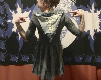 Free Bird grey hoodie tunic dress upcycled ooak