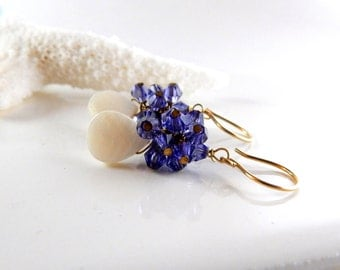 Violet Cluster Earrings - AdoniaJewelry
