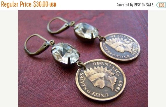SALE A Penny For Your Thoughts...Antique Indian Head Penny Earrings