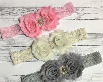 30% OFF SPRING SALE Set of 3 Ivory, Silver Grey, Pink Lace Headband, Pearl, Easter, Baby Headband, Infant Headband, Newborn Headband, Flower
