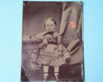 Full Plate Tintype Victorian Photo c1880 Child in Dress Boy Girl? Shamrock Touch of Hand Tinting Extra Large Size