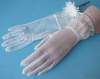 c.1960 Gloves Off White Sheer Knit Printed Dot Triangles Wrist Length Ruffled Hem