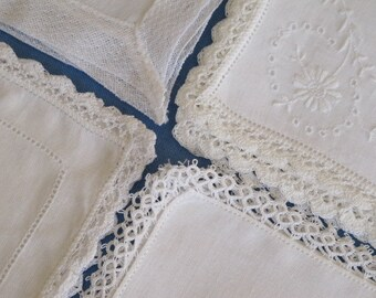 4 Hankies White Linen Cotton Fancy Lacy Lace Hand Crochet Tatting Net Plauen c.1920s-1960s Vintage