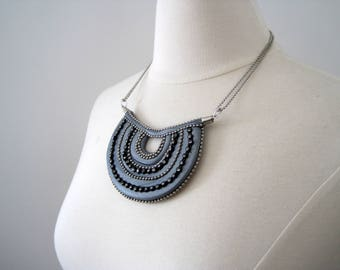 bib necklace made from polymer clay with rhinestones and silver ball chain - silver clay, adjustable chain, modern design