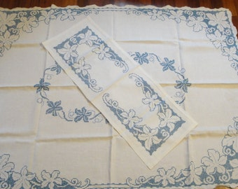 Vintage Tablecloth Runner Cross Stitch Linen Blue