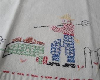 Vintage Hand Towel Cross Stitch Farmer