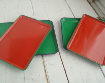Red Blue Green Lacquered Tray Set of 4