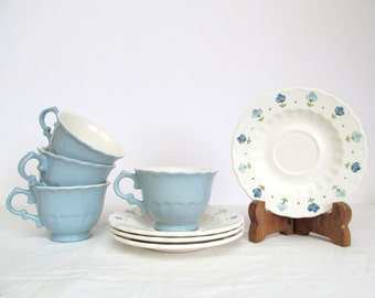 Mid Century Metlox True Blue Cups  and Saucers,  California Pottery, Vernon Ware