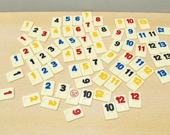 Rummikub tiles for crafts or jewelry, 72 tiles, one joker, plastic tiles with numbers