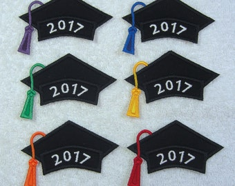 Iron on Graduation Cap 2017 Fabric Embroidered Iron On Applique Patch Made to Order