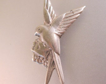 1930s Mexican Bird with Love Letter Sterling Silver Pin Brooch Vintage Jewelry Jewellery
