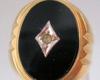 SALE ON Ends 4/30 Vintage Men's 10K Gf Onyx Ring Edwardian Revival Size 9 Old New Stock with Original Tag Costume Jewelry Jewellery