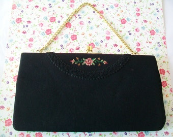 Vintage handbag, black, petit point floral, purse, clutch, formal