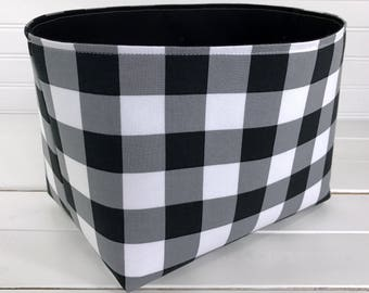 Nursery Decor,Storage Bin,Organizer Basket,Bin,Woodland Fabric Basket Bin, White, Black, Buffalo Plaid, Lumberjack Nursery, Woodland Decor