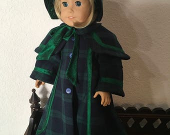 Victorian Christmas Caroler coat and bonnet for 18 inch doll