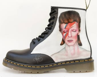 Custom David Bowie Doc Martens - Hand Painted David Bowie Portrait Boots