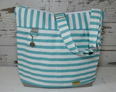 Diaper Bag by Darby Mack, our Leila tote in Turquoise stripe with Grey /  Washable and durable!  Made in the USA