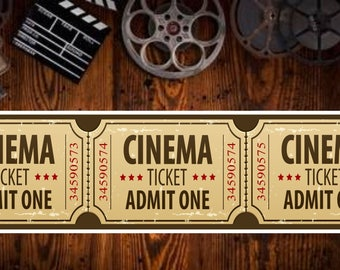 Home Movie Theater Sign with Distressed Effect Cinema Ticket Design SS1013