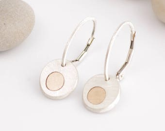 Lever Back Silver and Gold Dangle Earrings