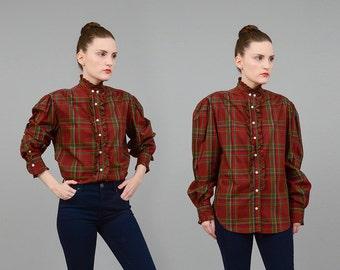 20% off SALE Vintage 80s RALPH LAUREN Plaid Shirt Cotton Ruffled Blouse Preppy Puff Sleeve Button Up Shirt Navy Red Green Medium M